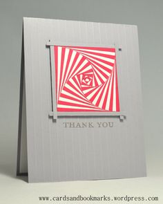 handmade card ... runway inspired ... medium gray card base and frame ... iris folding look/zentangle technique colored in red and white ... luv the graphic qualities of this card!!