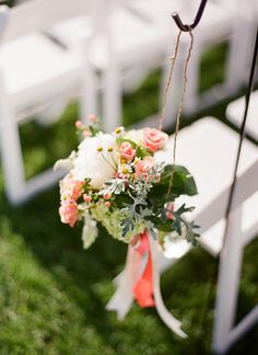 pretty ceremony aisle flowers | Kristen Lynne