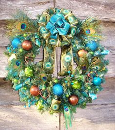 Funky Feathered Fun Animal Print Peacock Feathers Brown Turquoise Lime Glitter Christmas Ornament Ball Ribbon Wreath  $85