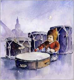 Little drummer girl with drums and Nikiszowiec church in background. Watercolour made for music project T.ETNO by Tomasz Drozdek