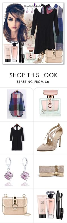 """BEAUTIFULHALO.COM-V-57"" by ane-twist ❤ liked on Polyvore featuring moda, Gucci, Jimmy Choo, Valentino, Lancôme e beautifulhalo"
