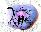 Painted Rock Love Birds