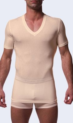 The perfect #color that will not show under white shirts. #Comfortable, second skin #Tammy #John Deep V Stay Tucked #Undershirt.