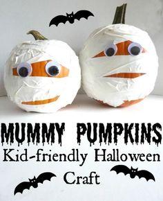 Manaulidades de Halloween para niños: calabazas momia