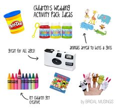 what to include in a kid's activity box at a wedding ~ lots of useful ideas