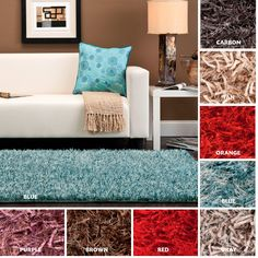 Add color to a room with this hand-woven bright color shag rug. The ultra-plush pile is available in several colors including carbon, tan, orange, blue, gray, red, brown, and purple. This area rug will add style to a variety of home decor settings.