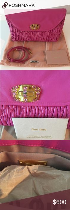 "Mui Mui Matelasse Nappa Leather Hot Pink Clutch This 100% Authentic Clutch was purchased at the outlet in Woodbury Commons and therefore you won't find pictures of it on the internet.  It's never been used. The authenticity card has never been opened and we didn't want to open it. So it's great for a night out.  Dimensions: L 9"" x H 5.5"" x W 2"" Miu Miu Bags Clutches & Wristlets"