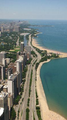 Chicago Lake Michigan view from Hancock