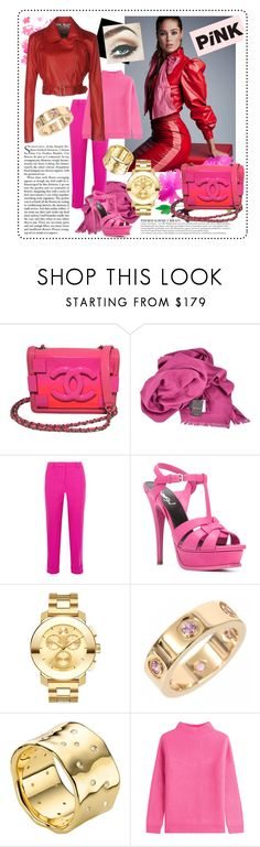"""Pink contest"" by rocklovenstyle ❤ liked on Polyvore featuring Anja, L'Agence, Chanel, Gucci, J.Crew, Yves Saint Laurent, Movado, Cartier, Monica Vinader and Diane Von Furstenberg"