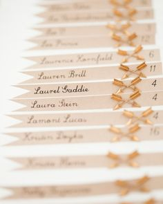 Arrow pin escort cards - For more ideas and inspiration like this, check out our website at www.theweddingbelle.net