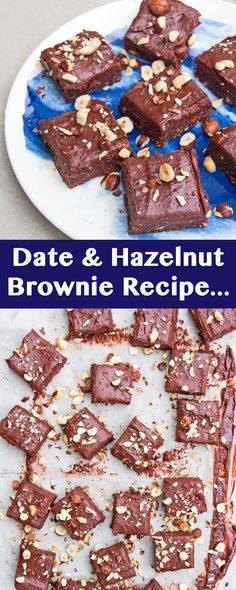 Date and Hazelnut Brownie Recipe with just seven ingredients. So quick to make, delicious to eat and freezes well. Vegan & Gluten free