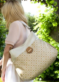 Storksak Nina Antalya Stone and Tan Diaper Bag