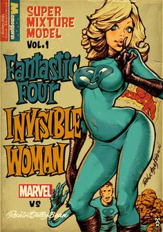 Rockin' Jelly Bean x Marvel - Fantastic Four Invisible Woman Comic Book Characters, Comic Books Art, Comic Art, Bd Comics, Comics Girls, Jelly Beans, Super Heroine, Art Manga, Invisible Woman
