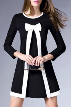 »Graceful Round Collar 3/4 Sleeve Bowknot Embellished Women's A-Line #Dress« #fashion #fashionandaccessories