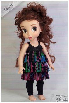 Disney Animator Doll Clothes - Black ruffle dress patterned and leggings - Basics, made by My Little Wardrobe on etsy, www.etsy.com/nz/shop/MyLittleWardrobeWear
