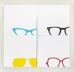 Stylish and appropriate for my terrible eyes. Too bad they don't come as letterpress cards, I'd frame the four of them.