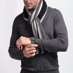 Fashion designer wrap men's business scarf price: & f Plaid Fashion, Autumn Fashion, Mens Fashion, Winter Essentials, Fashion Designer, Men Style Tips, Men Sweater, American, Business