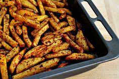 man-approved-spicy-oven-baked-french-fries: Jason and I both loved this recipe and would make again for sure. Also softened the sliced potatoes in the microwave to speed up the baking. (tossed in a little oil).