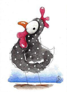ACEO Original watercolor painting whimsical farm bird illustration chicken Mary #IllustrationArt