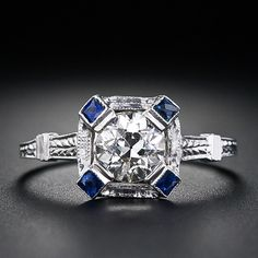 .71 Carat Diamond and Sapphire Art Deco Engagement Ring
