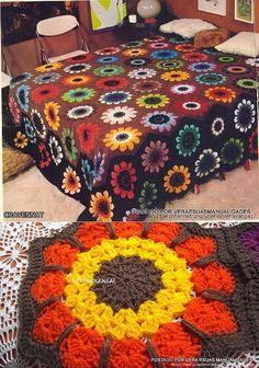 Crochet vintage pattern, close-up of square made from pattern. Crochet Afghans, Crochet Bedspread, Crochet Quilt, Afghan Crochet Patterns, Crochet Motif, Crochet Flowers, Knitting Patterns, Granny Square Häkelanleitung, Granny Square Crochet Pattern