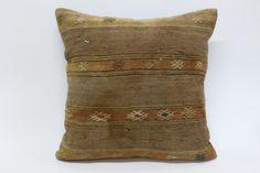 Turkish Naturel Kilim Pillow 24x24 Handwoven Kilim by SebilPillows