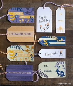 Free printable fall gift tags in purple and orange by Lia Griffith
