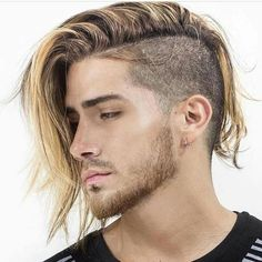 New hair styles men long tattoos ideas Haircuts With Bangs, Haircuts For Men, Haircut Men, Hair And Beard Styles, Short Hair Styles, Cool Hairstyles For Men, Shaved Side Hairstyles Men, Slicked Back Hair, Shaved Sides