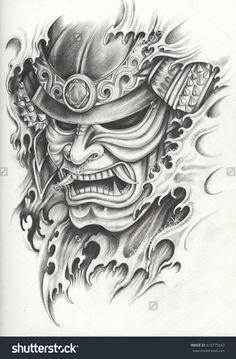 Samurai Maske Tattoo, Samurai Warrior Tattoo, Warrior Tattoos, Samurai Tattoo Sleeve, Kunst Tattoos, Tattoo Drawings, Body Art Tattoos, Sleeve Tattoos, Pencil Drawings