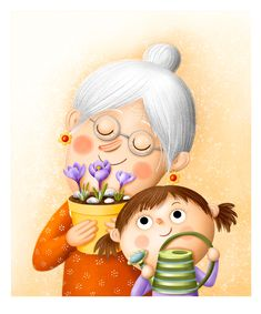 Folk Art Flowers, Flower Art, Cartoon Grandma, Mother Daughter Art, Web Design Gallery, Family Drawing, Cute Cartoon Drawings, Dot Art Painting, Illustrations And Posters