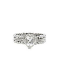 Cathy Waterman- Oval Diamond Solitaire on Double Milgrain Seed Band