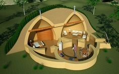 Earthbag House Plans: Triple Dome Survival Shelter. Yes, kinda crazy, but also intriguing...