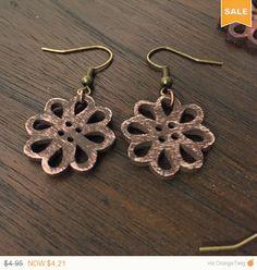 Summer Sale 15% Off Wooden Flower Earrings  by BearpawBindings
