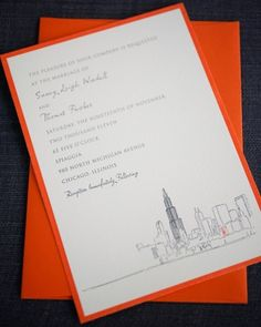 A custom sketch of the Chicago skyline is the perfect accent to this invitation that honors the Windy City