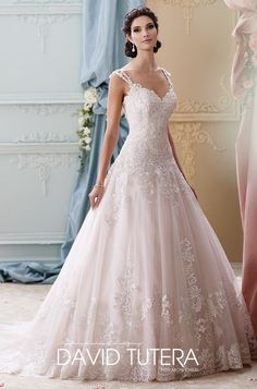 Featured Dress: David Tutera for Mon Cheri Bridals; Wedding dress idea.