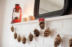 DIY gold leaf pine cone garland. Perfect for Christmas home decor for the fireplace mantel.