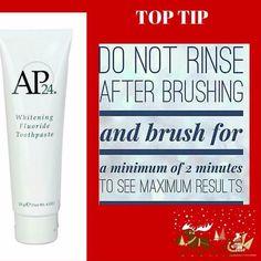 AP 24 Whitening Toothpaste, dile adiós a las pastas ordinarias. No contiene peróxido y te va blanqueando los dientes mientras te los protege porque no te los debilita. Distribuidor autorizado Mail sanmarcelest@hotmail.com www.bellezacelestial.nuskinops.com