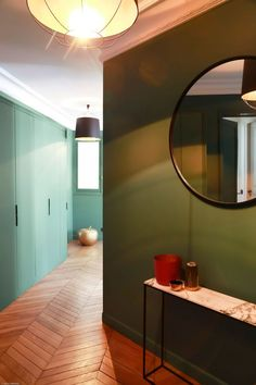 Modern Home Decor Bathroom – South Coast Home Decor Style At Home, Oversized Round Mirror, Round Mirrors, Modern Crib, Entry Hallway, Entryway, Hallway Decorating, Home Decor Bedroom, Architecture