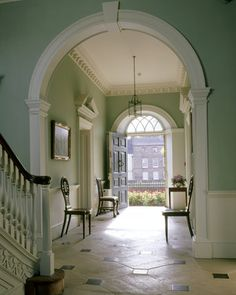 black and white floored entry to Peckover House in Cambridgeshire England ~ a Georgian entry