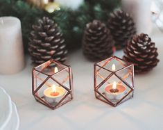 Copper Geometric Candle Holders, Valentines Day Decor, Wife Gift, Boyfriend Gift, Candle Lover Gift, Stained Glass Hurricanes, Wedding Decor