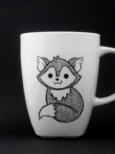 fox mug in black and white, fox, fox mug, fox cup, personalized mug, woodland mug, christmas gift door vitaminaeu op Etsy https://www.etsy.com/nl/listing/166853094/fox-mug-in-black-and-white-fox-fox-mug
