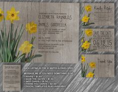 Rustic Daffodil Wedding Invitation Set/Suite, Invites, Save the date, RSVP, Thank You Cards, Response Cards, Printable/Digital/PDF/Printed by InvitationSnob on Etsy https://www.etsy.com/listing/193500686/rustic-daffodil-wedding-invitation