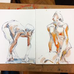 10 minutes poses. Udo said, I developed such a wonderful line, so free. :) But about my second favorite today's work (not among these two) he said it's a caricature. Oh well, baby steps. #sketch #nudedrawing #malenude #gesturedrawing #aktzeichnen #watercolor #drawing #instaart #скетч #обнаженка #акварель