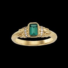 Emerald gold engagement rings | 14k Yellow or White gold is set with an Emerald cut genuine Emerald ...