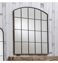 """Rockford Large Metal Arched Vintage Window Overmantle Wall Mirror 36"""" x 30"""""""