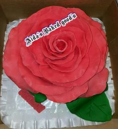 edible Rose cake made with modeling chocolate and a guava filling.
