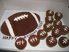 football cake and cupcakes... Not for a birthday party