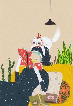 Una lectura muy realista: creo que el gato tiene hambre (ilustración de Millim)