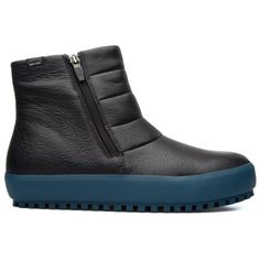Camper Camper Portol Goretex Ankle Boot featuring polyvore, women's fashion, shoes, boots, ankle booties, black, short black boots, black bootie boots, side zip ankle boots, black booties and rubber sole boots