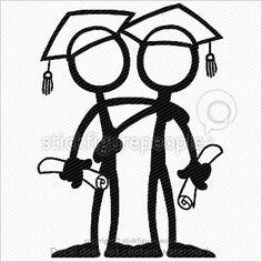 Stick Figure Graduation Together